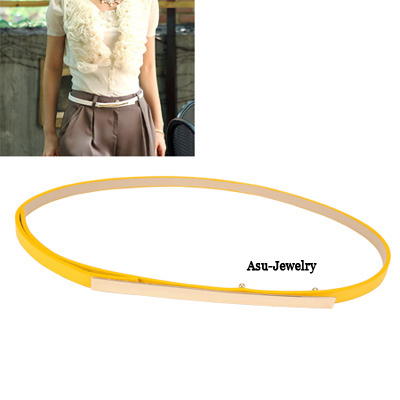Collapsibl Yellow Concise Pu Leather Long Bucklace