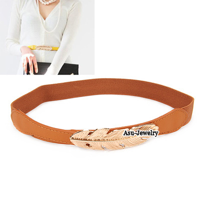 Uniqe Brown Lastich Leaf Buckle Candy Color Waistband PU Wide belts