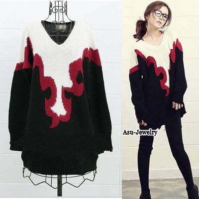 Sexy Black Bandage Neckline Decorated Long Sleeve Pure Color Sweater