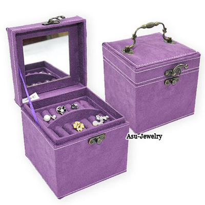Foldable Purple Square Shape Design PU Jewelry box
