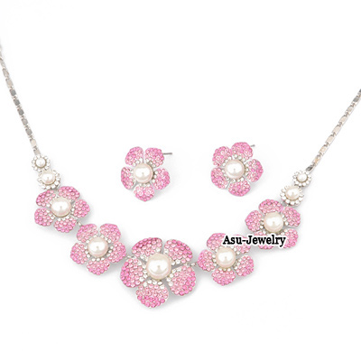 Diy Pink Five Petal Flower Design 18K alloy Jewelry Sets