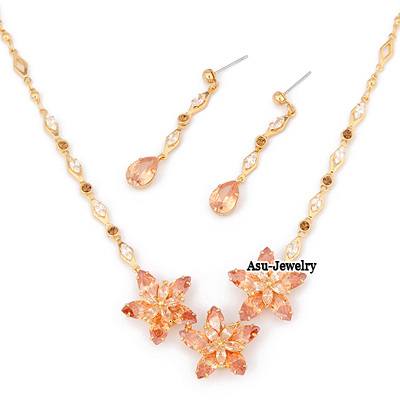 Winter Champagne Champagne Doule Petal Flower  Design Czech Diamond Jewelry Sets