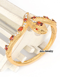 Corduroy Gold Color Snake Alloy Fashion Bangles