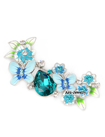 Japanese Blue Flower Alloy Fashion Brooches