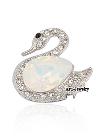 Locket White Tundra Swan Alloy Fashion Brooches