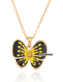(Yellow) Korean exquisite fashion butterfly pendant thin chain charm design necklace