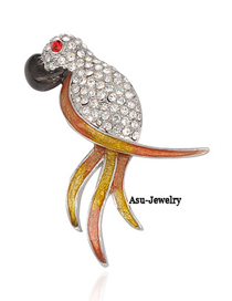 Dancing Silver Color Parrot Alloy Fashion Brooches