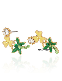Military Yellow Dragonfly Flower Charm Design Alloy Stud Earrings