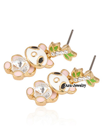 Hiphop Gold Color Panda Bamboo Decorated With Cz Diamond Alloy Stud Earrings