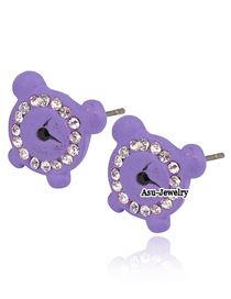 Casual Purple Clock Decorated With Cz Diamond 18K alloy Stud Earrings