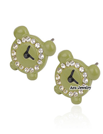 Cute Green Clock Decorated With Cz Diamond Alloy Stud Earrings