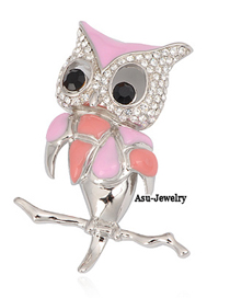Street Pink Owl Alloy Fashion Brooches