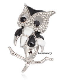 Premier Silver Color Owl Alloy Fashion Brooches