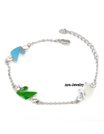 Cranes Multicolour Swan  Design 18K alloy Fashion Bracelets