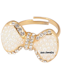 Beauteous Gold Bow Alloy Fashion Rings