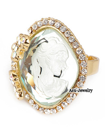 Polaris White Lady Head Alloy Fashion Rings