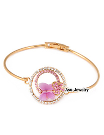 (Golden+plum Red) Korean exquisite luxury fashion butterfly decorated with zircon charm design bangle
