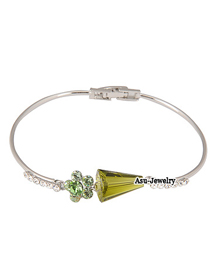 Native Silver Color Flower 18K alloy Fashion Bangles