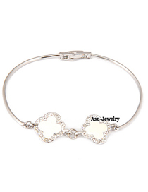 Writing Silver Color Flower Alloy Fashion Bangles