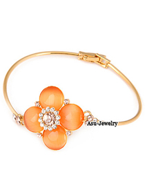 Korean  luxury fashion flower decorated with zircon charm design bangle