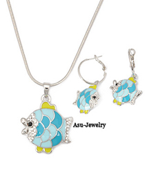 Bulk Silver Color Lovely Fish  Design 18K alloy Jewelry Sets