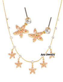 Fancy Champagne Champagne Five Petal Flower  Design 18K alloy Jewelry Sets