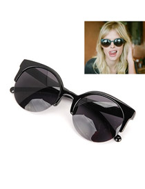 Screw With Black Frame Fashion Half Frame Design Resin Women Sunglasses