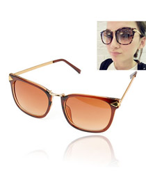 Fashion Plum Red Oval Shape Decorated Thin Leg Design Alloy Women Sunglasses