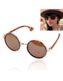 Liquid With Leopard Frame Round Shape Lens Design Resin Sunglasses