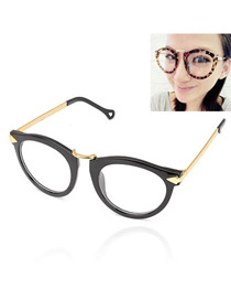 Fresh With Blue Frame Fashion Pentagram Design Plastic Fashon Glasses