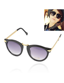 Fashion Black Pure Color Decorated Round Shape Frame Glasses