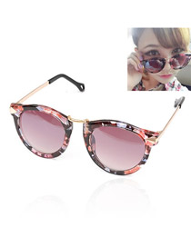 Fashion Blue Wing Shape Decorated Pure Color Simple Sunglasses