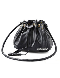 Fashion Black Flower Shape Decorated Pure Color Shoulder Bag