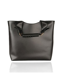 Elegant Black Metal U Shape Button Decorated Pure Color Shoulder Bag