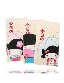 Plain Color will be random Cartoon Kimono Girl  Design Paper Notebook Agenda