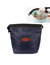 Retro Dark Blue Lunch Box Keep Warm Bag Cloth Household goods