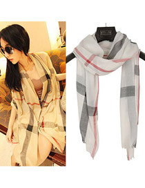 Players White grid pattern cotton blends Fashion Scarves