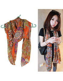 Local Orange Personality Totem Pattern Chiffon Thin Scaves