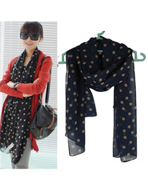 Personality Dark Blue Flower Pattern Decorated Duplex Design  Imitated Silk Fabric Thin Scaves