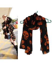 Jogging Black Personality Skull Head Pattern Chiffon Thin Scaves