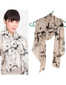 Crinkle Black Countryside Floret Pattern Chiffon Thin Scaves