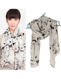 Fashion Coffee Embroidery Flower Decorated Scarf
