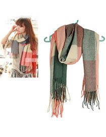 Vintage Multi-color Flower Pattern Decorated Tassel Scarf