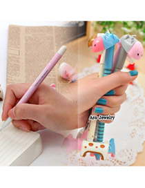 Fashion Blue Diamond Decorated Color Matching Design Simple Memorial Pen