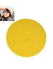 Mini Yellow Flatcap Beret Imitation wool Fashion Hats