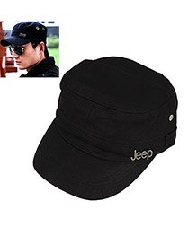 Fashion Black Circular Ring Decorated Pure Color Baseball Cap