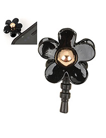 Ruby Black Flower Design Alloy Anti-Dust Plug