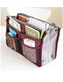 Korean fashion thickened strap portable multifunctional double zipper cosmetic storage bag (1pcs price) (Claret-Red)