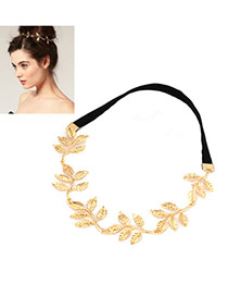Korean Gold Color & Black Diamond Decorated Flower Design Rubber Band Hair Band Hair Hoop