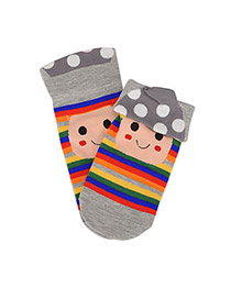 Retro Gray Cat Pattern Decorated 3d Effect Design  Spandex Fashion Socks